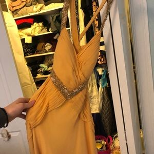Niteline Dresses - Yellow, open back beaded gown